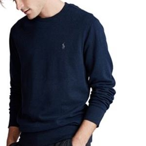 Cable Knit Polo Sweater Navy 8